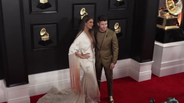priyanka chopra and nick jonas at the 62nd annual grammy awards at staples center on january 26 2020 in los angeles california - grammy awards stock videos & royalty-free footage