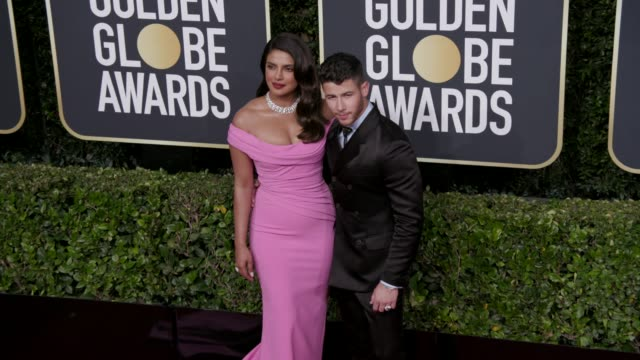 priyanka chopra and nick jonas at the 77th annual golden globe awards at the beverly hilton hotel on january 05, 2020 in beverly hills, california. - the beverly hilton hotel stock videos & royalty-free footage