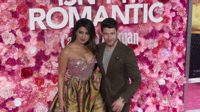 Priyanka Chopra and Nick Jonas at the Isn't It Romantic World Premiere at The Theatre at Ace Hotel on February 11 2019 in Los Angeles California