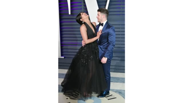 priyanka chopra and nick jonas attend the 2019 vanity fair oscar party hosted by radhika jones at wallis annenberg center for the performing arts on... - gif file format extension stock videos & royalty-free footage