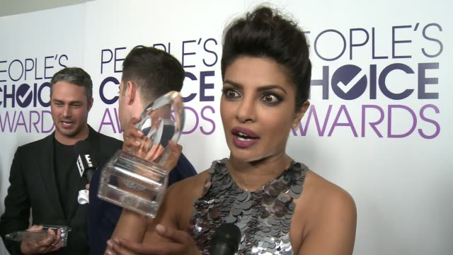 interview priyanka chopra on what this particular award means to her where she'll keep it how she'll celebrate her win tonight how she plans on... - people's choice awards stock videos & royalty-free footage