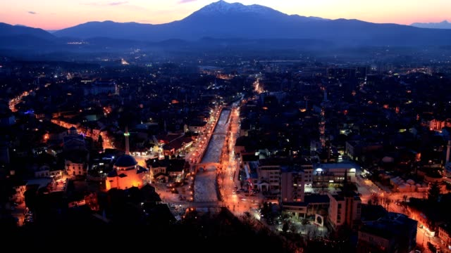 prizren city(sunset and night) - sunset to night stock videos & royalty-free footage