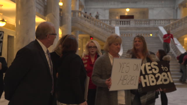 pro and anti polygamist protesters gathered at the utah state capitol in salt lake city to debate the bill hb281 which would recriminalize polygamy - mormonism stock videos & royalty-free footage