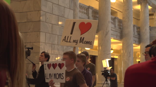 pro and anti polygamist protesters gathered at the utah state capitol in salt lake city to debate the bill hb281, which would recriminalize polygamy. - mormonism stock videos & royalty-free footage