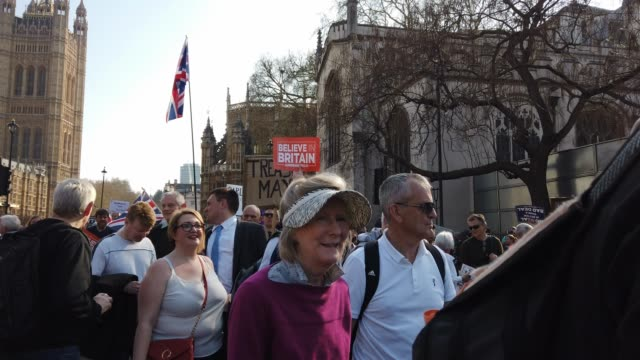 Pro Brexit demonstrators rally in Parliament Square on March 29 2019 in London England Today proBrexit supporters including the March To Leave joined...