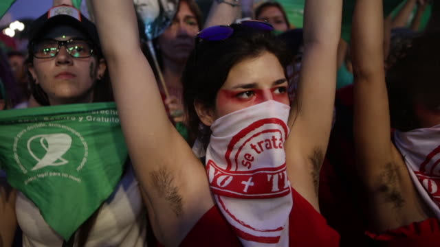 pro legal abortion activists gather in a demonstration as part of a green pañuelazo to demand the right to legal safe and free abortion outside the... - argentina stock videos & royalty-free footage
