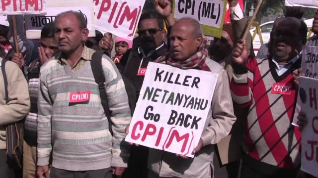 Pro Palestinian protesters gather in the Indian capital to voice anger at a landmark visit by Israeli Prime Minister Benjamin Netanyahu