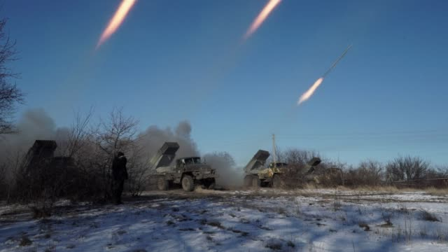 Pro Russian rebels in Gorlivka near the flashpoint town of Debaltseve in eastern Ukraine were seen firing grad multiple rocket launchers on Wednesday...