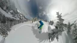 360 SELFIE 3D Pro snowboarder having fun riding fresh powder snow