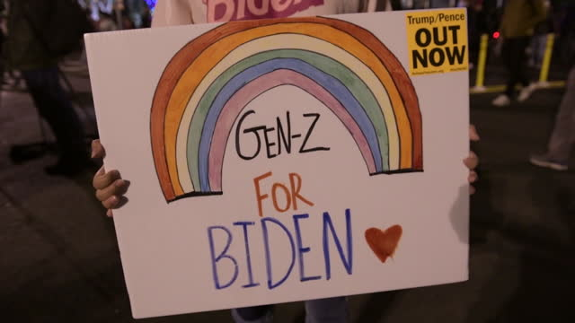 pro-biden rainbow placard on 2020 us presidential election day at black lives matter plaza in washington, dc, u.s., on tuesday, november 3, 2020. - generation z stock videos & royalty-free footage