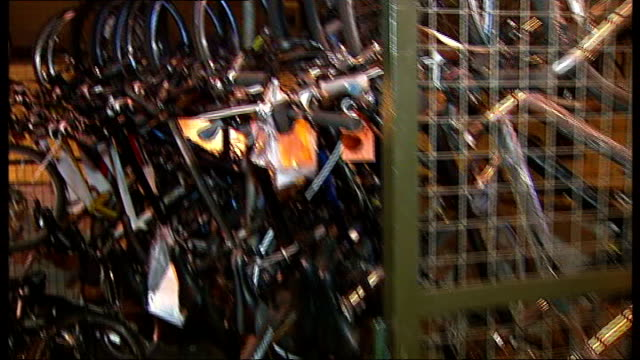 problems tracing owners of recovered stolen bikes in london england east london int recovered stolen bicycles piled up in warehouse ends - durchpausen stock-videos und b-roll-filmmaterial