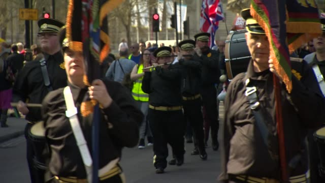 probrexit protesters and a marching band demonstrating in westminster - 2016 european union referendum stock videos & royalty-free footage