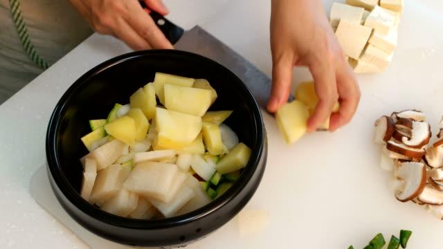 Process of making Doenjang Soup (Korean Traditional bean paste stew)