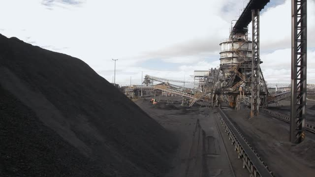processed coal on conveyor belt leaving plant - coal mine stock videos and b-roll footage