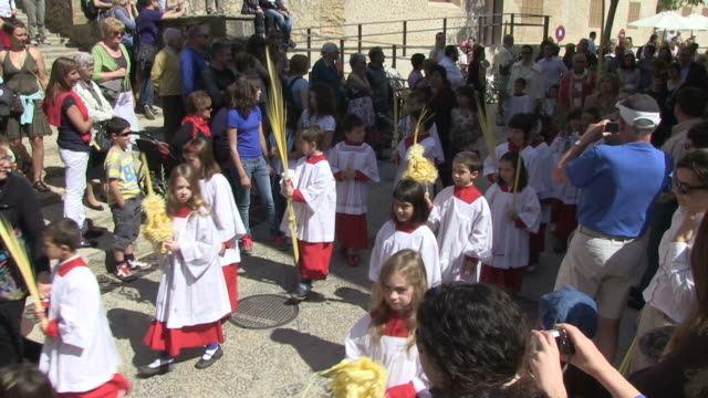 ms processing on palm sunday  / pollenca, mallorco baleric island, spain - holy week stock videos & royalty-free footage