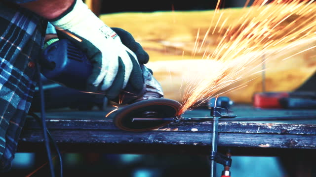 processing welded metal on workbench - workbench stock videos & royalty-free footage
