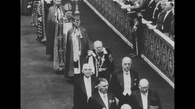 procession departing westminster abbey after elizabeth ii's coronation / prime ministers of several nations including louis st laurent of canada... - coronation of queen elizabeth ii stock videos and b-roll footage
