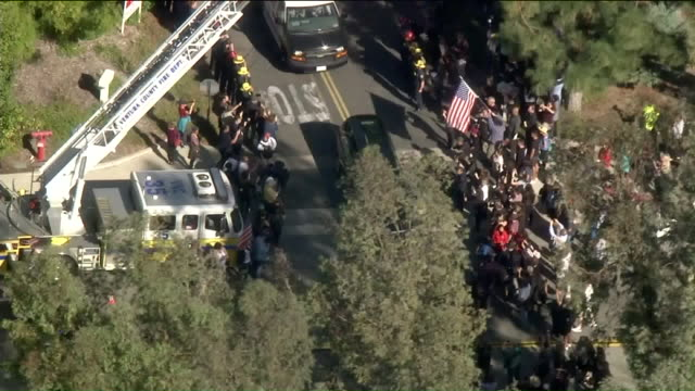 procession is underway thursday morning for the ventura county sergeant killed while responding to a mass shooting at a thousand oaks night club the... - sergeant stock videos & royalty-free footage