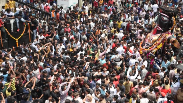 procession of marbat festival, nagpur, maharashtra, india. - hinduism stock videos & royalty-free footage