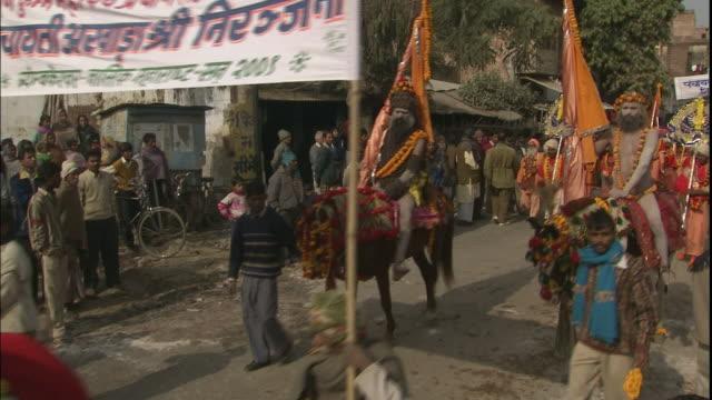 Procession of Sadhus leading Kumbh Mela pilgrimage, Allahabad, Uttar Pradesh, India