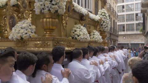 procession of the brotherhoods on easter sunday, malaga, andalucia, spain, europe - spanish culture stock videos & royalty-free footage