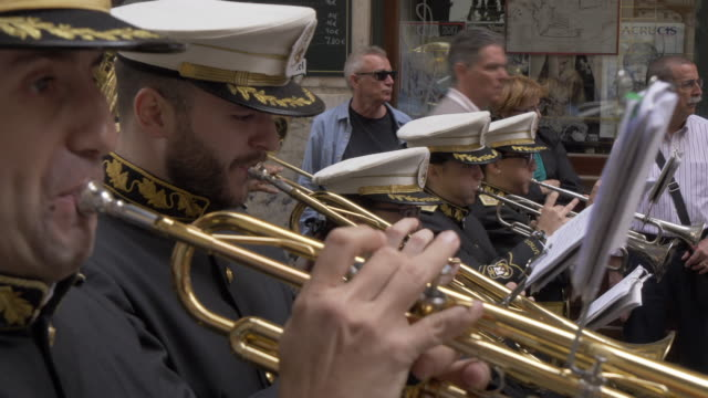 procession of the brotherhoods on easter sunday, malaga, andalucia, spain, europe - brass band stock videos & royalty-free footage