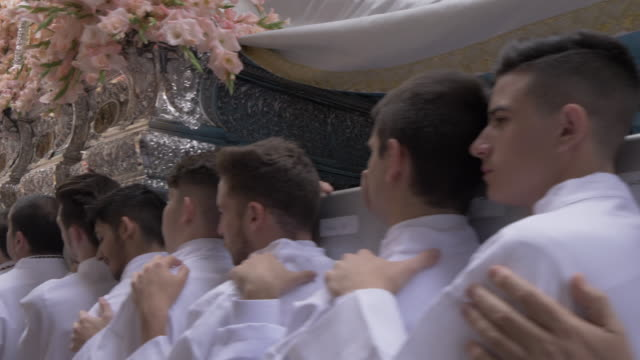 procession of the brotherhoods on easter sunday, malaga, andalucia, spain, europe - religious celebration stock videos & royalty-free footage