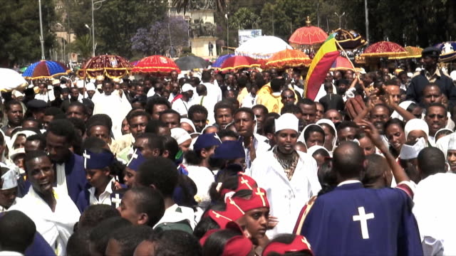 ms procession of timka, ethiopian orthodox celebration of epiphany, addis ababa, ethiopia - äthiopien stock-videos und b-roll-filmmaterial
