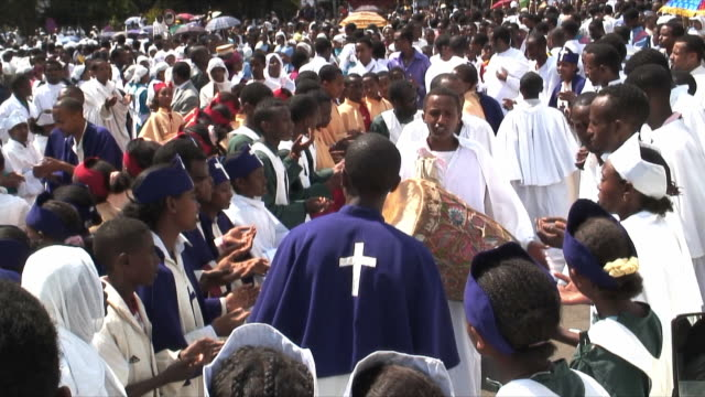 ms procession of timka, ethiopian orthodox celebration of epiphany, people playing drums, dancing and singing, addis ababa, ethiopia - priest stock videos & royalty-free footage