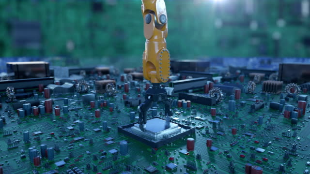 Processor Installation Process on the Circuit Board with Robotic Arm. DOF Blur. 3d Animation of the Motherboard with CPU. Technology and Digital Concept.