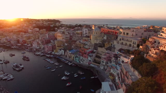 procida, naples, italy. aerial view - europe stock videos & royalty-free footage