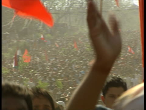 celebrations after king returns executive power to the people nepal kathmandu ext prodemocracy demonstrators running in street and celebrating... - communist party stock videos and b-roll footage