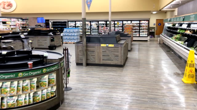 produce shelves are mostly emptied during the coronavirus pandemic in southern california. - shelf stock videos & royalty-free footage