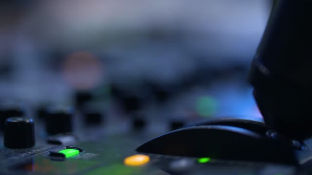 producer working with control desk in studio - on air sign stock videos & royalty-free footage
