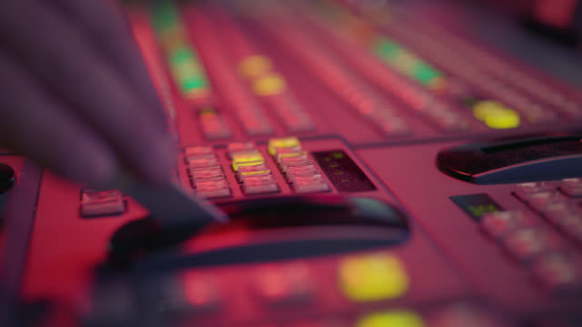 producer working with control desk in tv studio - producer stock videos & royalty-free footage