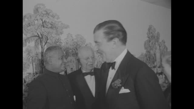 producerdirector at paramount pictures cecil blount demille ceylon prime minister john kotelawala and vice president of paramount pictures... - cecil b. demille stock videos & royalty-free footage