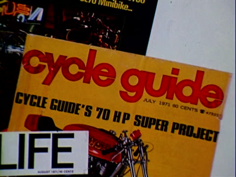 product shot of various motorcycle magazines, modern cycle, cycle, cycle world, cycle guide, boy's life magazines / product shot of ama news motor... - life cycle stock videos & royalty-free footage
