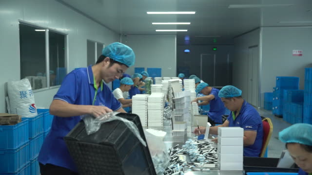 production line in shuguang toothbrush factory in yangzhou jiangsu china on monday september 21 2020 - large group of objects stock videos & royalty-free footage