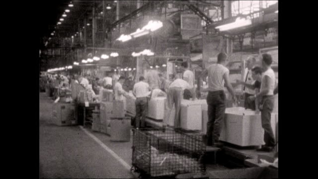 production line workers check fridges and freezers; 1964 - pittsburgh video stock e b–roll