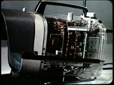 1963 montage production of electronics / japan - fernsehserie stock-videos und b-roll-filmmaterial