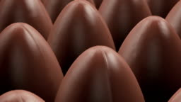 Production of many chocolate eggs for Easter