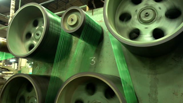 production of nylon thread in a factory - spool stock videos & royalty-free footage