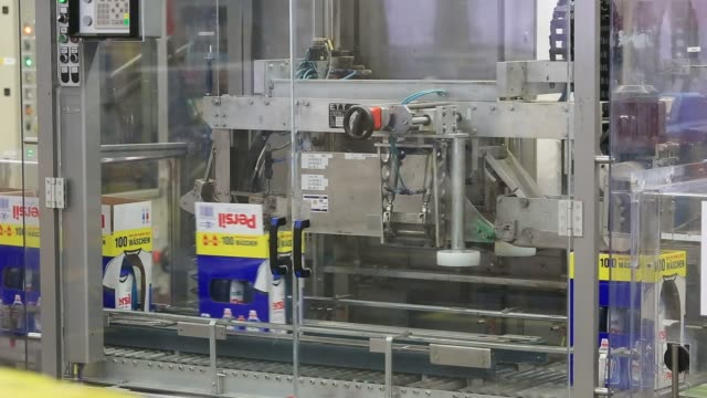 production of persil color gel laundry detergent inside the henkel ag factory in duesseldorf germany on wednesday april 7 2016 shots shots of... - laundry detergent stock videos and b-roll footage