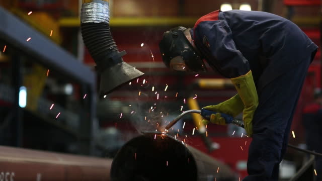 production of welded tubes at the chelyabinsk pipe rolling plant pjsc part of chelpipe group in chelyabinsk russia on monday february 17 2020 the... - welding helmet stock videos & royalty-free footage
