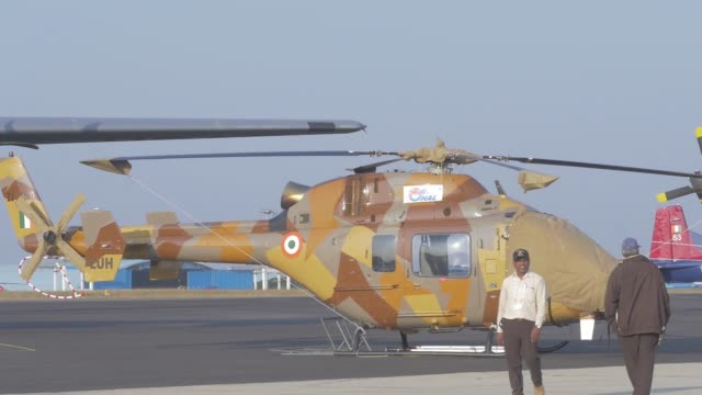 Products of Hindustan Aeronautics Ltd at company's booth during the Aero India air show at Air Force Station Yelahanka in Bengaluru India on Thursday...