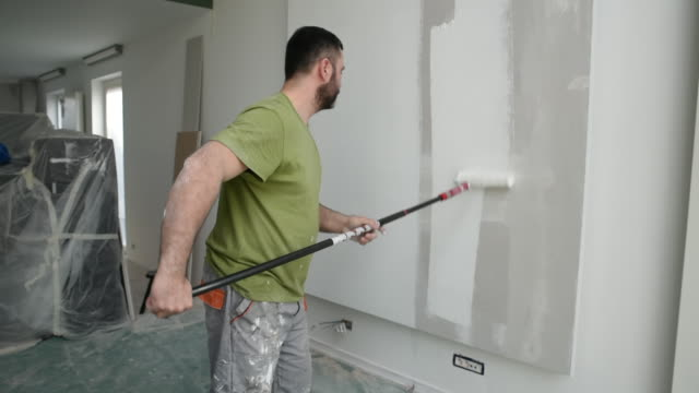 Profesional painter painting with paint roller