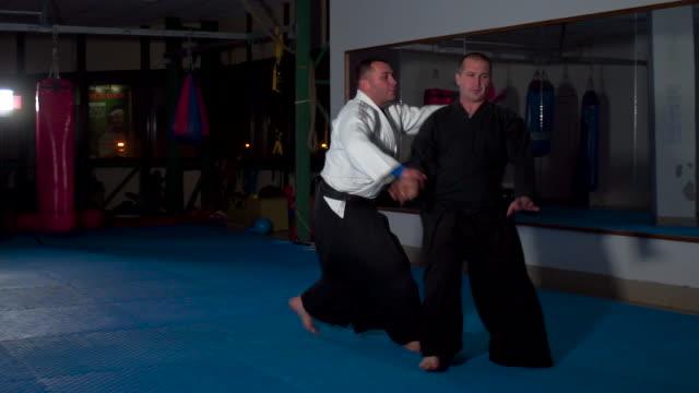 professional aikido training - samurai stock videos & royalty-free footage