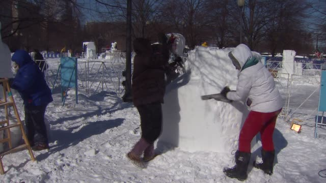 15 professional and 12 high school teams participated in the 6th annual snow days sculpting competition at navy pier on february 06 2014 in chicago... - schneefestival stock-videos und b-roll-filmmaterial