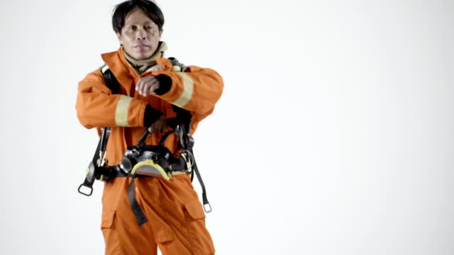 professional asian firefighter - jacket stock videos & royalty-free footage