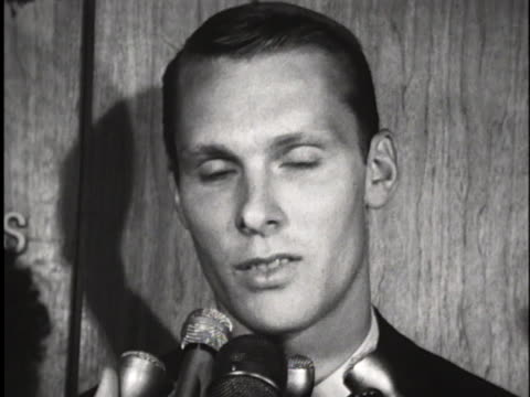 professional basketball player rick barry talks to reporters as he emerges from the san francisco warriors office in san francisco, california. - caucasian appearance stock videos & royalty-free footage